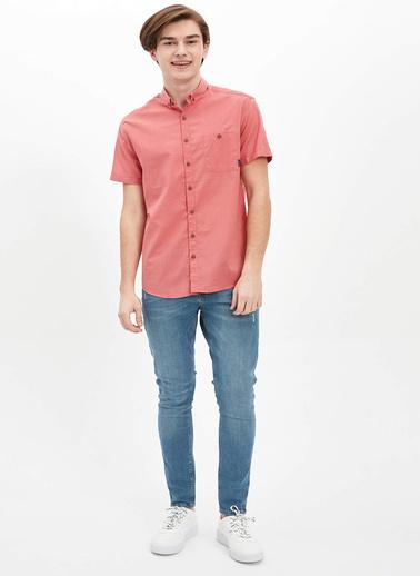 DeFacto Tek Cepli Slim Fit Gömlek Bordo